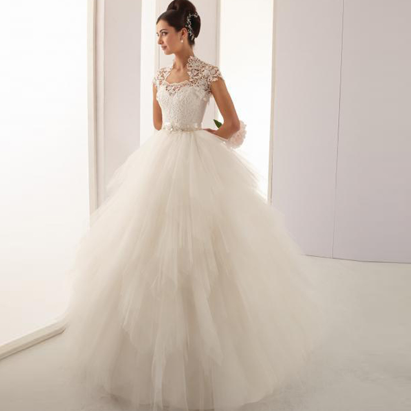 Bolero For Wedding Gown: Princess Ball Gown Wedding Dresses With Lace Bolero Jacket