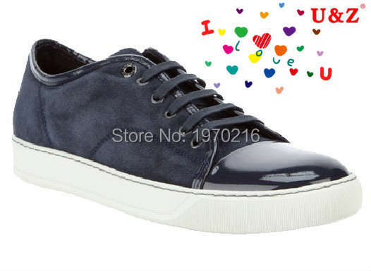 Plus tamaño grande US11 zapatos de marca! azul marino / negro Suede leather Shoes Casual cap patente toe Lace up men zapatos del ocio de zapatos prácticos