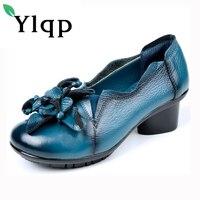 Ylqp Marka kadın Pompaları Ayakkabı Retro Ulusal Rüzgar El Yapımı Orta Topuklu Hakiki Deri Ayakkabı 2018 Bahar kadın Yumuşak tabanlar Pompaları