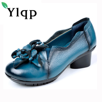 Ylqp Brand Women S Pumps Shoes Retro National Wind Handmade Mid Heels Genuine Leather Shoes 2017