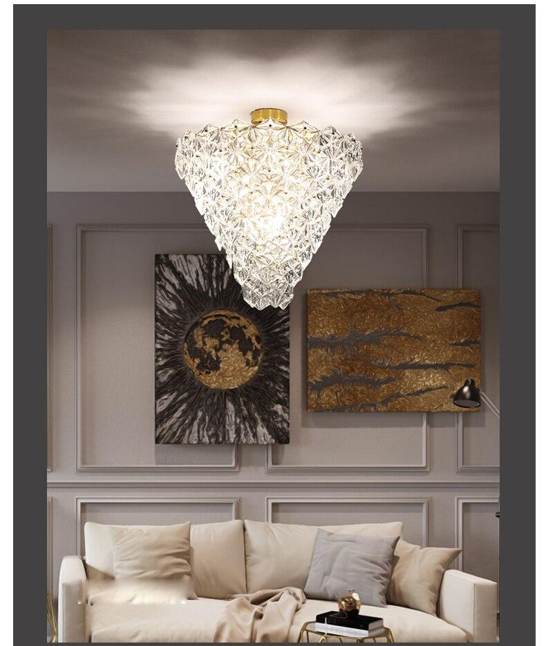 LED Moderne Kristallen Glas Plafondverlichting Armatuur Amerikaanse Sneeuw Bloem Plafond Lampen Thuis Indoor Verlichting Living Eetkamer Lamp - 6