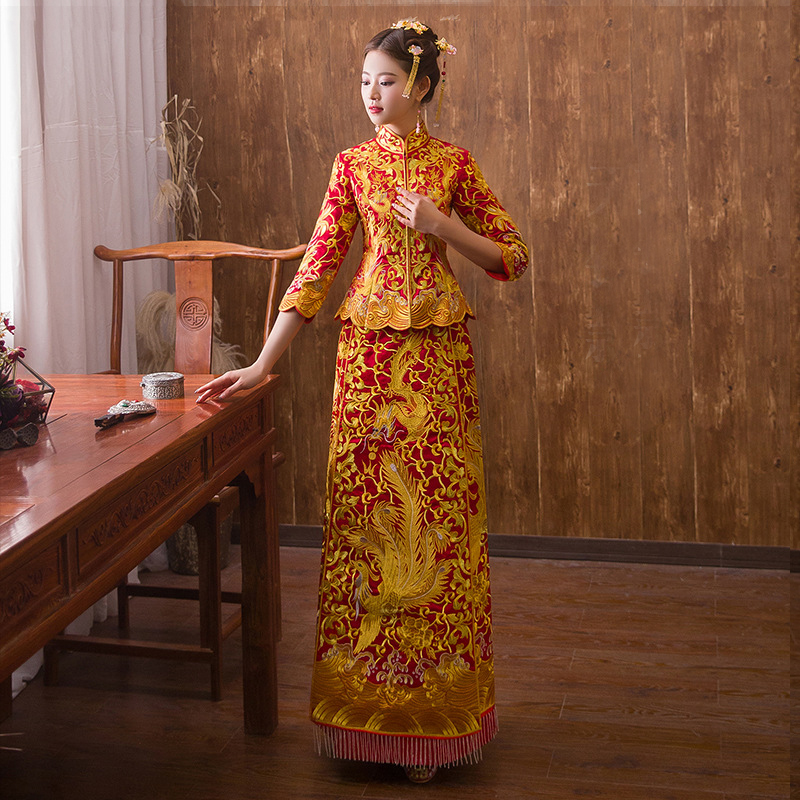 Luxury ancient Royal Red Chinese wedding dress Traditional Bride Embroidery Cheongsam Women Oriental Dragon Phoenix QiPao S XXL