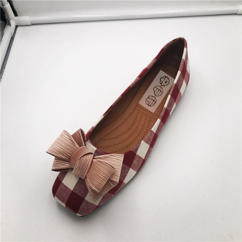 2018 Korean New Fashion Spring Women Flats Shoes Ladies Bow Square Toe Slip-On Flat Women's Shoes Plus Size 35-41 beyarne spring summer women moccasins slip on women flats vintage shoes large size womens shoes flat pointed toe ladies shoes