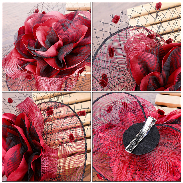 Elegant  Hair Clip Flower Feather Beaded Fascinator 6