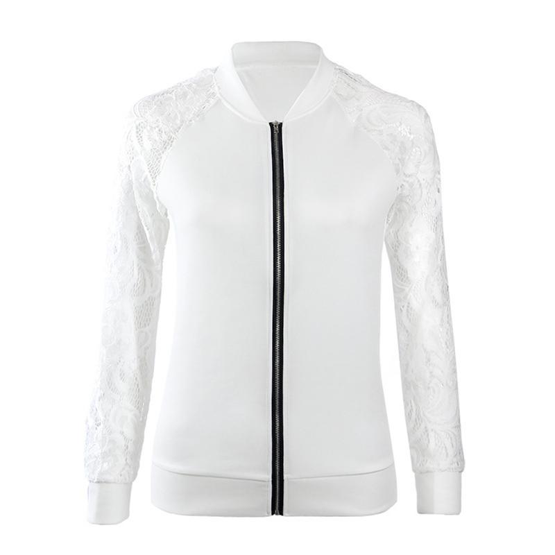 2017 mujeres de manga larga bombardero chaqueta solid collar Encaje ...