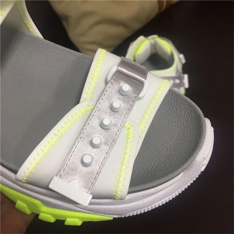 Crochet Baskets Loisirs Rivets Épaisse 2019 Mélangée Confort White Compensées Sandales Couleur Dames Semelle Semelles Plateforme Chaussures Femmes D'été Nouveaux Décontractées À ALj54R