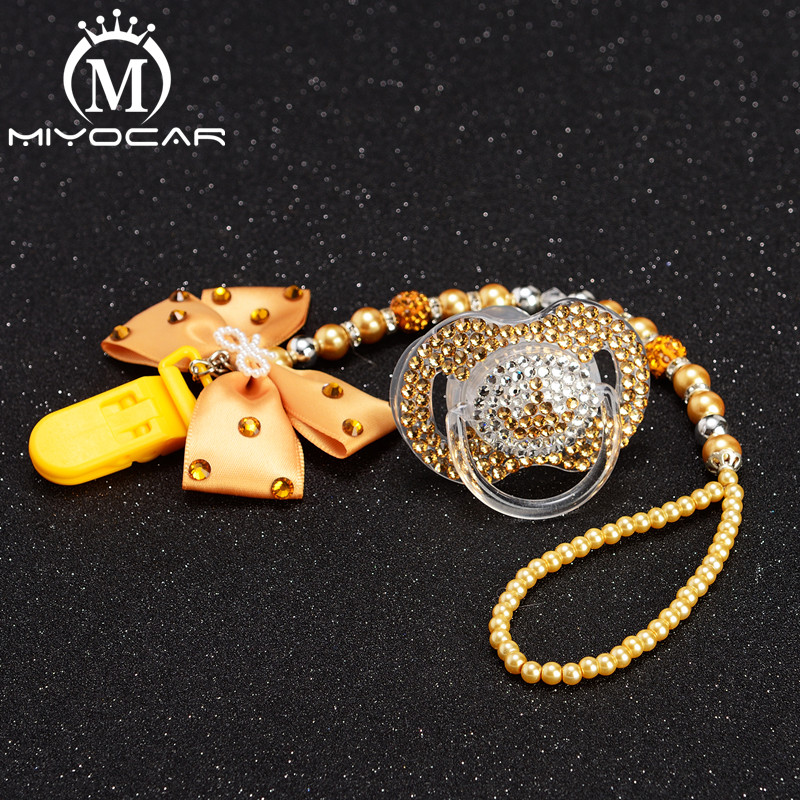 MIYOCAR bling rhinestone princess pacifier clip holder dummy and golden crown