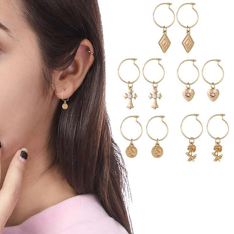 2019 Fashion 5 Pairs Circle Round Hoop Earrings Women Gold Color Heart Queen Rose Crystal Hiphop Brincos Boho Jewelry Gifts
