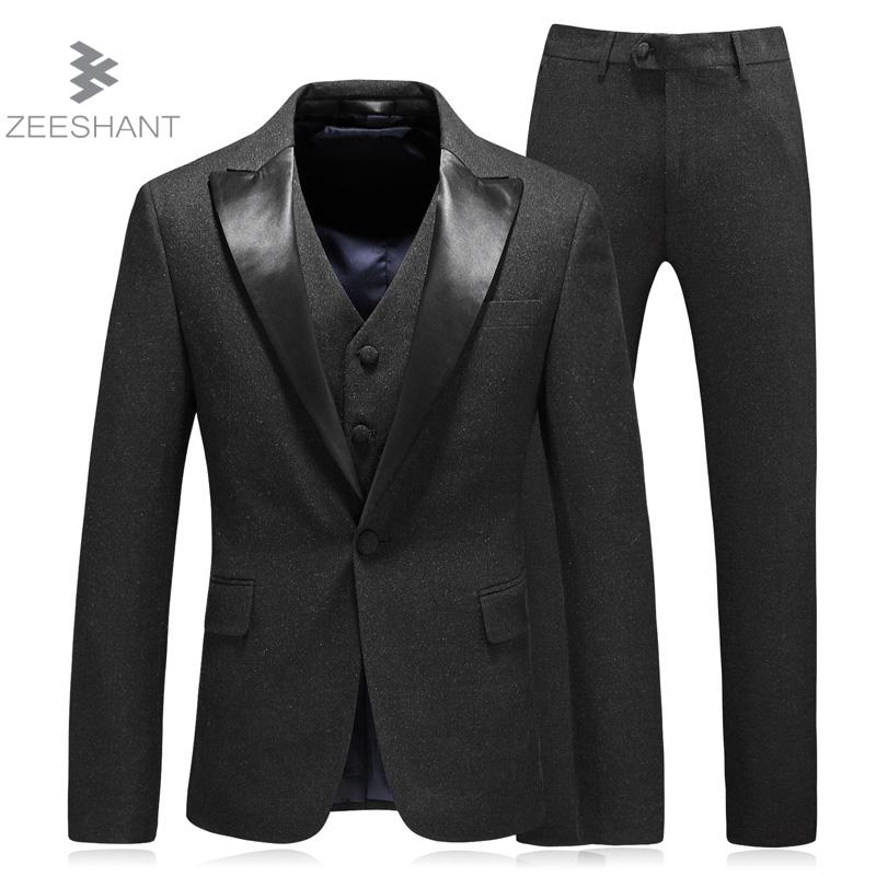 ZEESHANT Wedding Tuxedo Suits Groom Suit Mens Black Tuxedo Jacket, Wedding Tuxedos, 3 Piece Grey Suit L-5XL Formal Suits