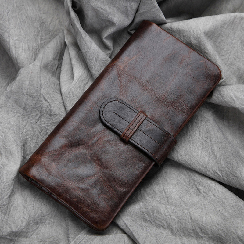 Mens Wallet Leather Genuine Oil Wax Long Purse Vintage Retro Clutch Purses With Card Holder Coin Pocket Cowhide Male Wallets Man