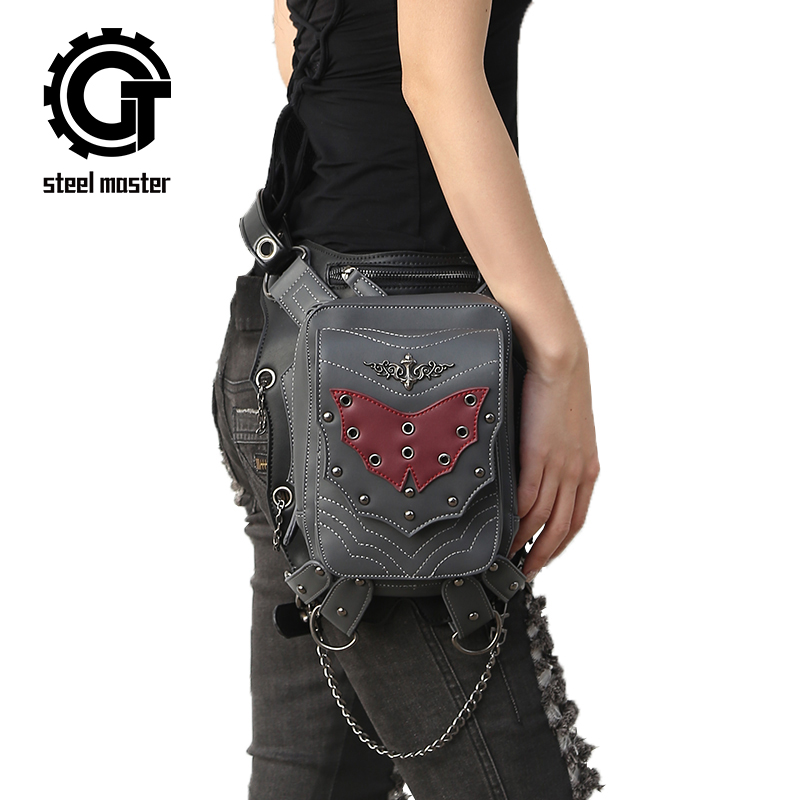 Vintage Rivet Punk Waist Bag Pack Retro Rock Bag Gothic Fashion Crossbody Bags 2017 New Steampunk Leather Motorcycle Leg Bags chrismas gift steampunk bag steam punk retro rock gothic bag goth shoulder waist bags packs victorian style women men leg
