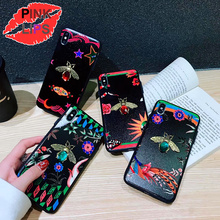 PINK LIPS Fashion brand Phone Case For X XR XS MAX Luxury Bee butterfly floral Diamond Cases iPhone 6 6s 7 8 Plus