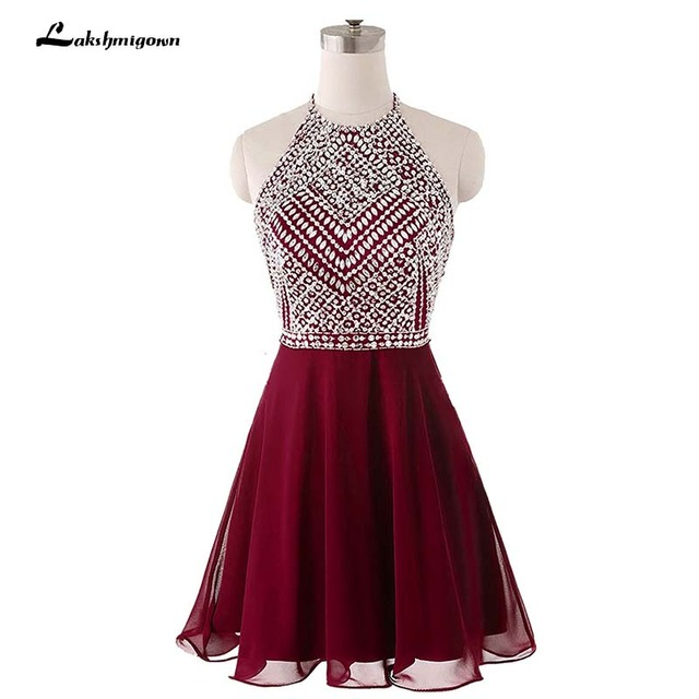 93dab7e1577 Y Backless Burgundy Chiffon Homeing Dresses 2018 Short Party Prom Dress