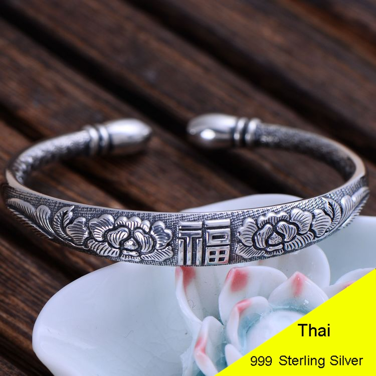 999 Sterling Silver Letter FU Rose Buddhism Om Mani Padme Hum Bangle Women Thai Silver Fine Jewelry Gift CH055732 16mm round sandalwood thai silver beads bracelet for women buddhism six letter scripture women men fine silver 990 jewelry sb69
