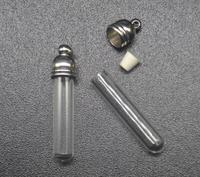 300pcs 29x5mm Wholesale Tube Glass Vial Pendant 5mm Metal Cap Rubber Plug Charm Glass Bottle Oil