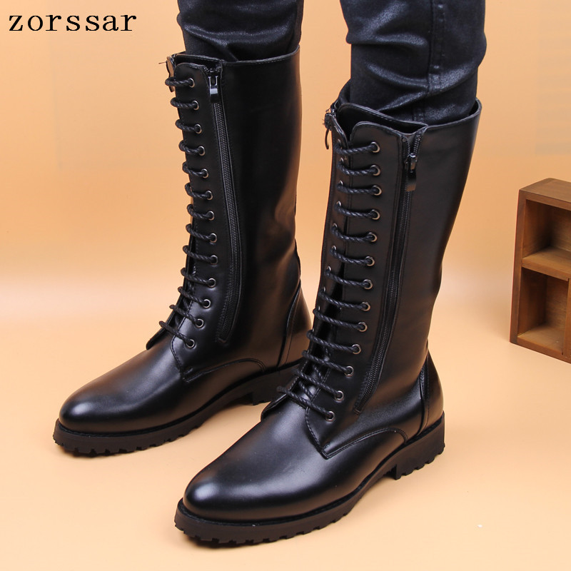 {Zorssar} High Quality Pu Leather Men high Boots Black Military Boots Tactical Boots Knee High Motorcycle boots Men Shoes winter