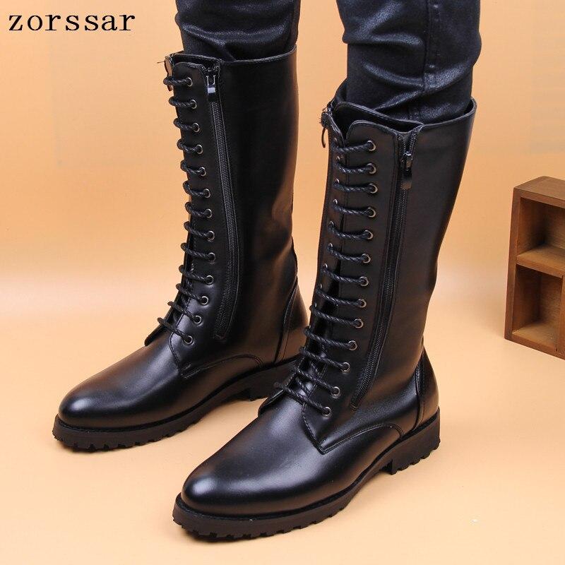 Táctica Motocicleta Hombres Cuero Militares Zapatos Los Alta