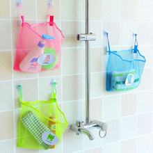 New 2019 Child Bath Toy Storage Bag Organiser Net Suction Baskets Kids Baby Mesh Bag Bathroom Accessories Solid Color(China)