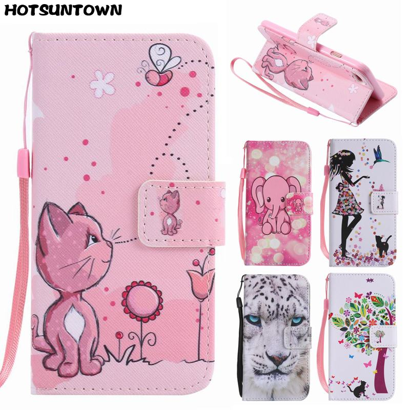 For Coque iPhone 7 Case Leather + Silicone Flip Cover iPhone 7 Plus Case Wallet Cover Fashion Painted Cute Cartoon Phone Cases