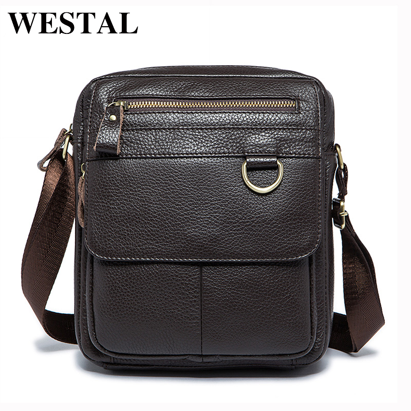 WESTAL Genuine Leather Men Bag Fashion Male Messenger Bags Men's Small Briefcase Man Casual Crossbody Shoulder Handbag 8088 genuine leather casual men bags men s messenger bags briefcase handbag men s travel bag man leather crossbody shoulder bag 2016