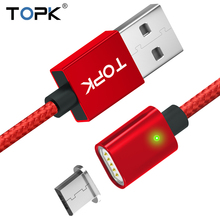 TOPK 2.4A Magnetic Micro USB Cable Upgraded Nylon Braided LED Indicator Fast Charging Magnet Charger for Phones