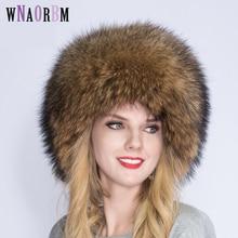 WNAORBM осенняя и зимняя женская русская енотовая собака Королевский мех шапка из меха лисы купол монгольская шапка меховая шапка
