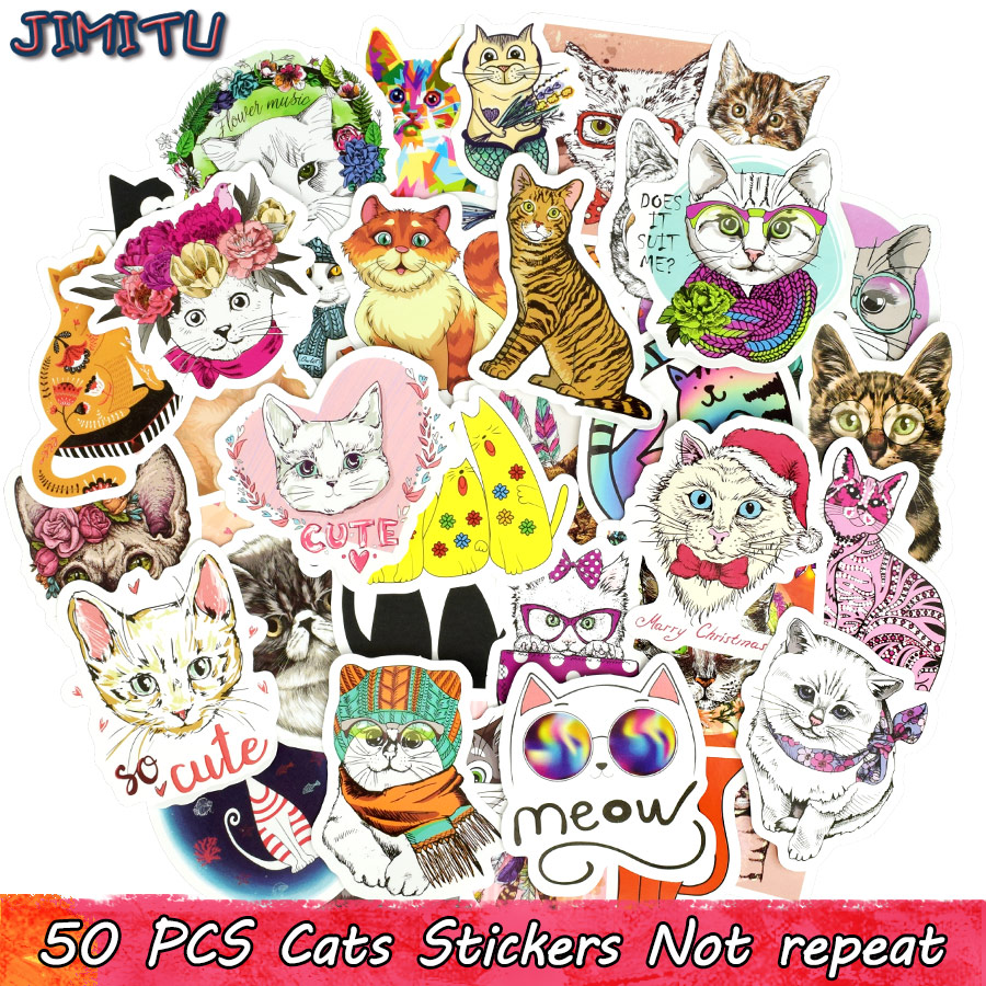 50 PCS Cute Cat Sticker Kawaii Anime Dream Girl Stickers Toys For Children DIY Laptop Luggage Phone Bicycle Fridge Decal Gifts