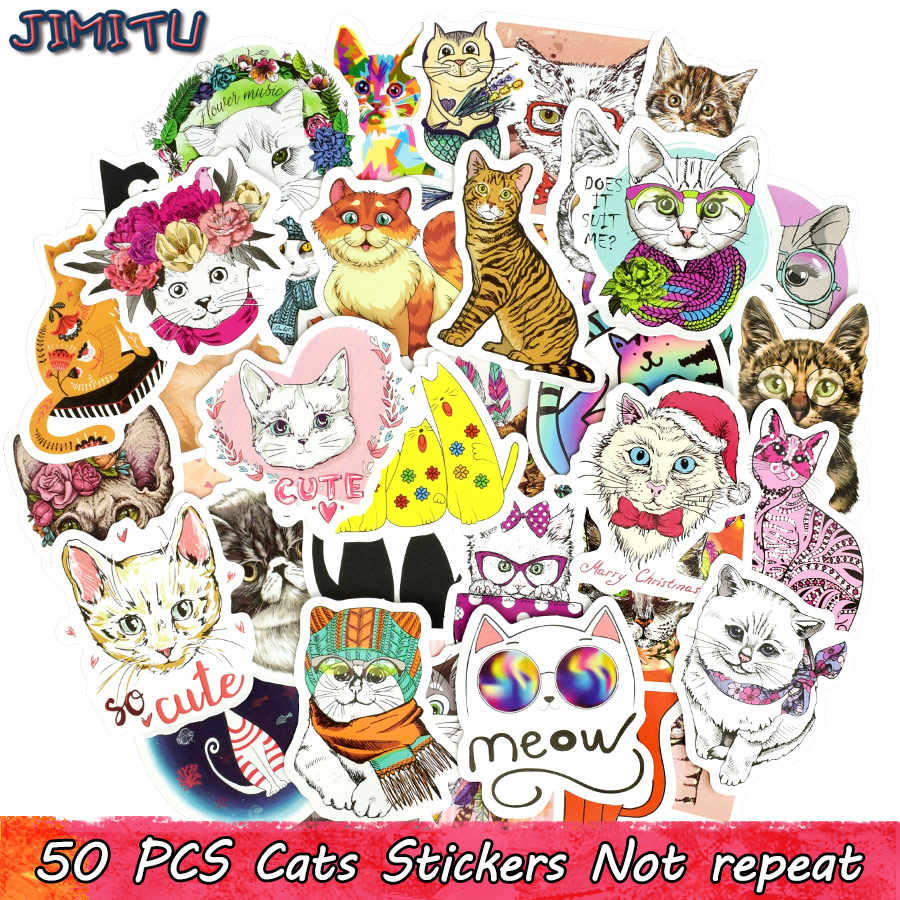 50 pcs cute cat sticker kawaii anime dream girl stickers toys for children diy laptop luggage