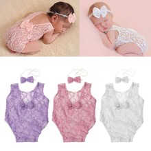 Baby Deep V Bare Back Bowknot Bodysuit Lace Newborn Photography Props Baby Photo Props Infant Photo shoot Girls(China)