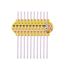10pcs Emoji Disposable Tableware straws Happy Birthday Party Decorations Supplies Easter Baby shower Wedding Activity goods
