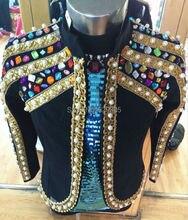 Plus Size Customized Colorful Stones Beaded Jacket Male Singer Blazer Bar Stage Wear Coat Costume Handmade