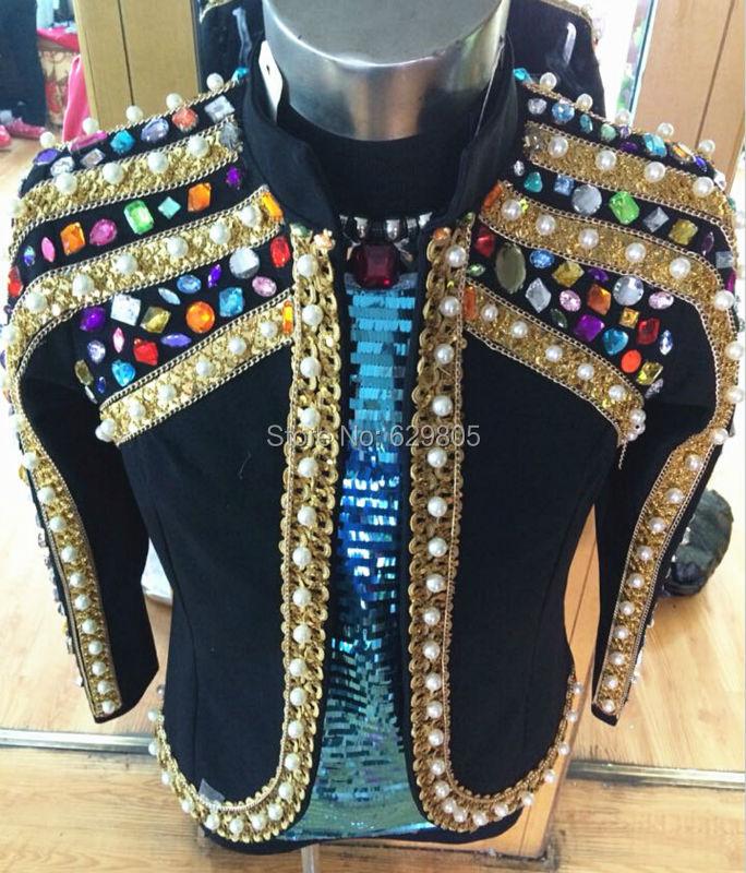 Plus Size Customized Colorful Stones Beaded font b Jacket b font Male Singer Blazer Bar Stage