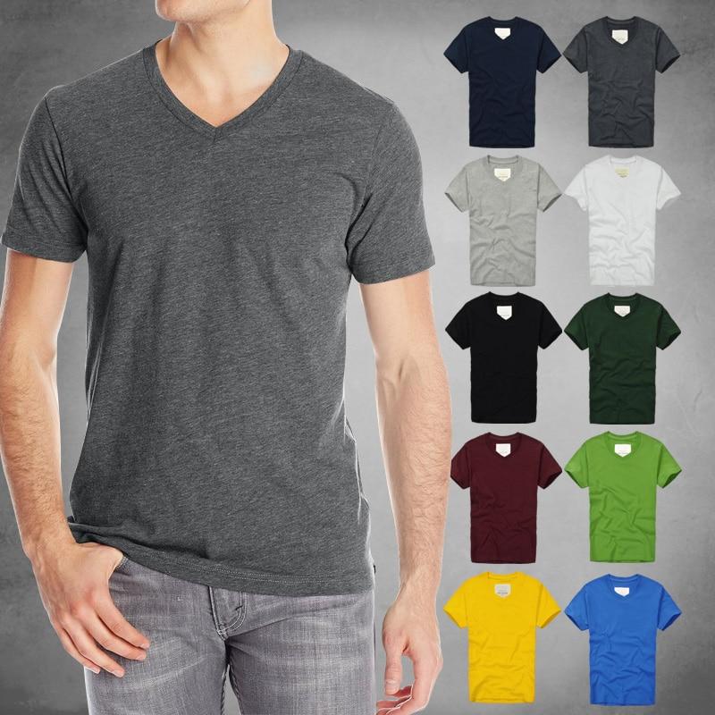 Nueva llegada V cuello Bottoming camisa de Color sólido Camiseta de manga corta hombres Camiseta de algodón engrosada Casual T-Shirts más tamaño 3XL