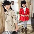 Jaquetas infantis para meninas trench coat primavera & outono roupa dos miúdos princesa trespassado outwear menina criança roupas 4-12 Y