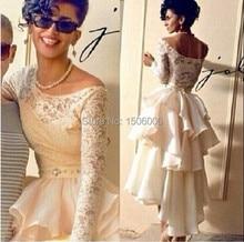 Marfim Lace Tiers pescoço da colher completa mangas Prom vestidos Designer elegante Dubai sauditas especial fabuloso vestido de noite Formal 2016 nova(China (Mainland))