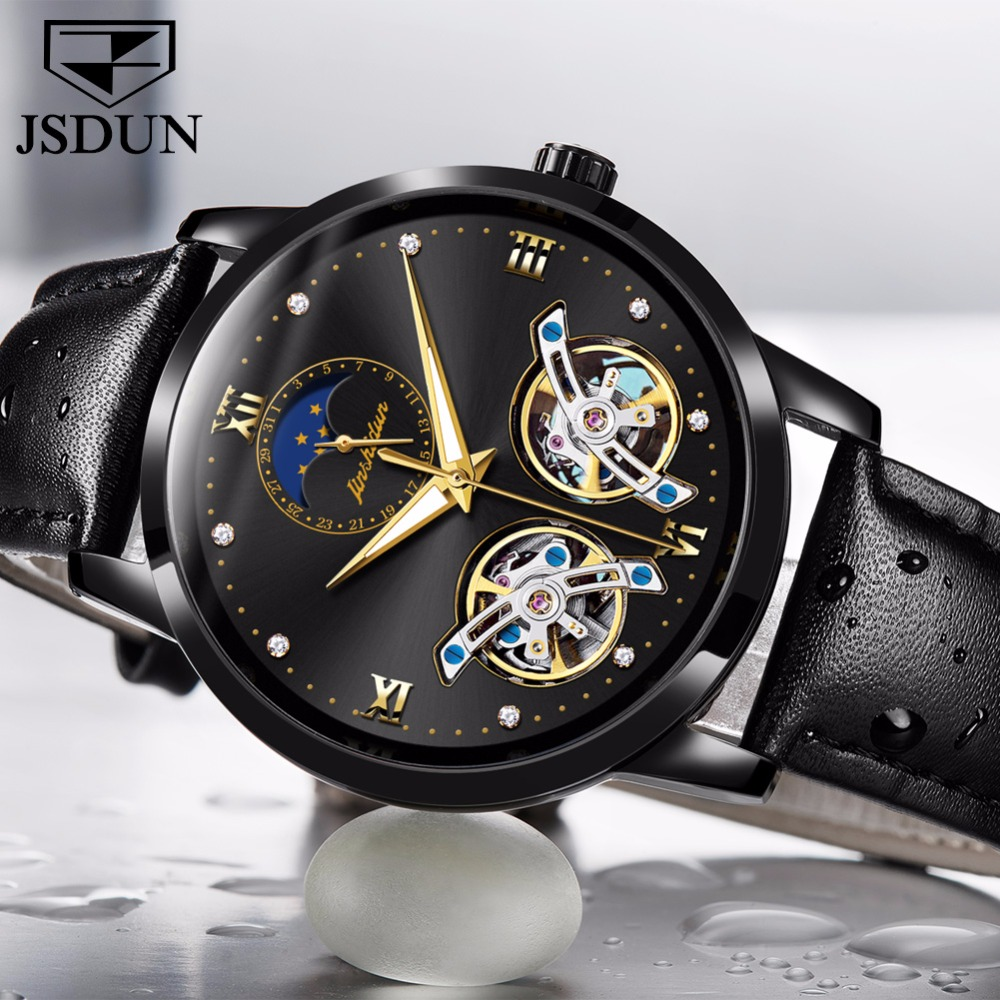 Automatic watch mechanical movement mens watches top brand luxury JSDUN Clock Double hollow relogio masculino Water Resistant tevise mens watches top brand luxury automatic watch man hollow gold wristwatch mens luminous water resistant mechanical watches