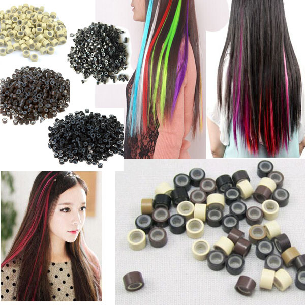 100pcspack Silica Gel Hair Extensions Tool Silicone Microlink Rings