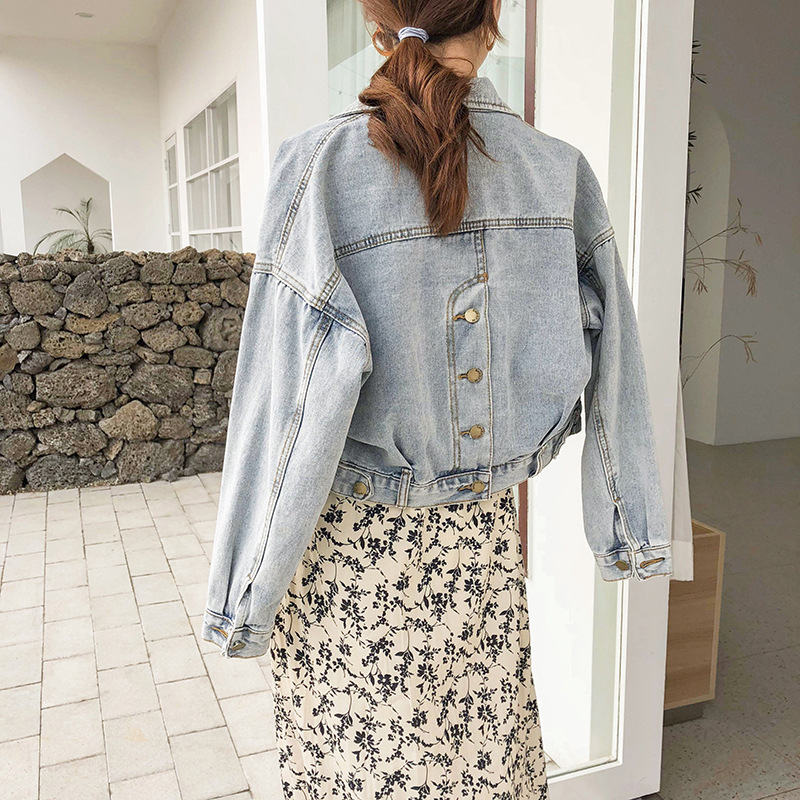 2019 Women Basic Coat Denim Jacket  Frayed Denim Bomber Jacket women's denim bomber jacket Denim Coat loose fit casual style