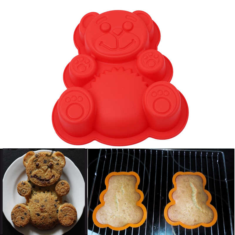 17*15.5*3cm Bear Shape 3D Silicone Cake Mold DlY Cartoon Baking Tools Bakeware Maker Mold Tray Baking Cake Moulds