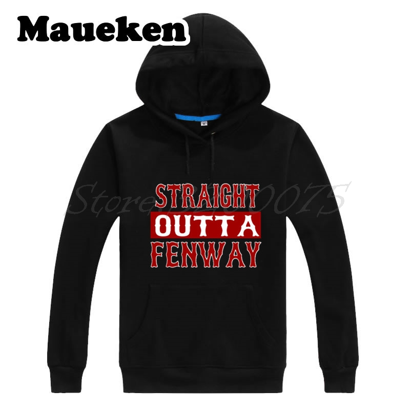low priced 1c2c8 69da1 US $29.88 |Men Hoodies Boston Straight Outta Fenway Sweatshirts Hooded  Thick Lace up for red sox fans gift Autumn Winter W17101203-in Hoodies & ...