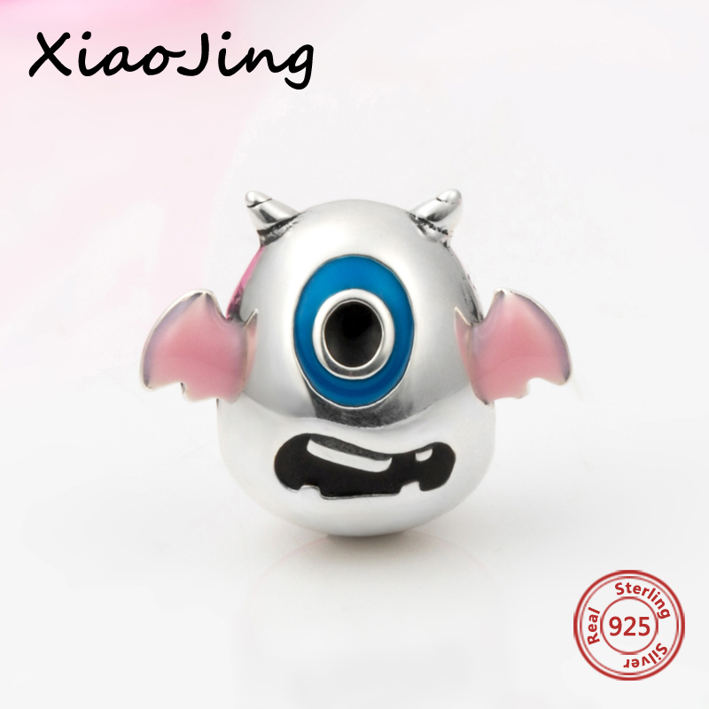 Hot sale 925 Sterling Silver charms one eyed monster Beads Fit authentic Pandora Bracelet diy fashion Jewelry making men Gifts