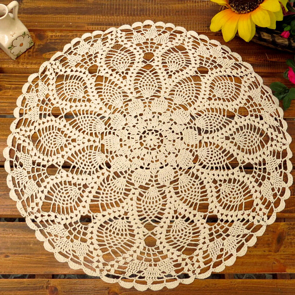 Handmade Vintage Crochet Round Tablecloth Table Cover