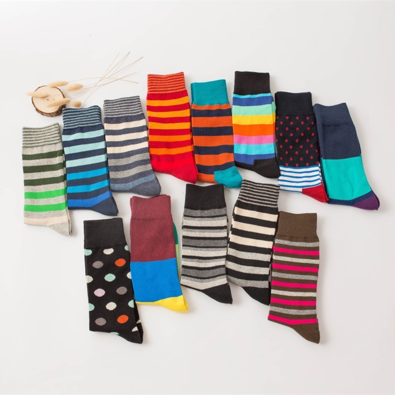 PEONFLY Brand Cotton Men Socks Vintage Male Striped Colorful Socks Summer Refreshing Wedding Socks Design