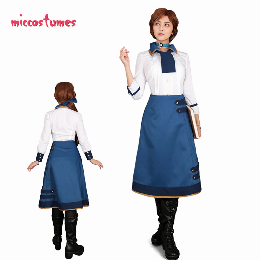 BioShock Infinite Elizabeth Cosplay Costume Dress Set Halloween Outfit