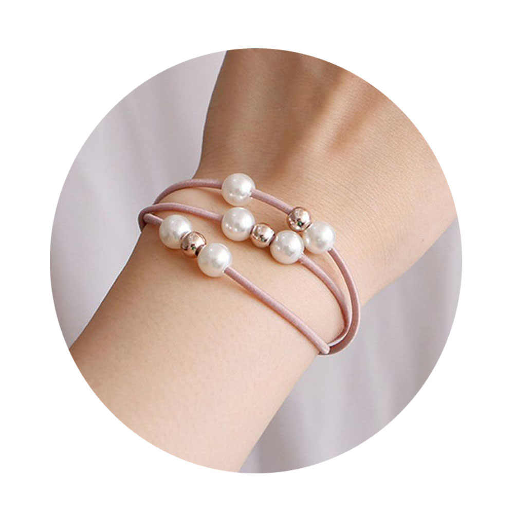 1-5PCS Women Hair Accessories Girl Headband Three Layer Rubber Band Imitation Pearls Ball Star Elastic Hair Bands Girl Jewelry