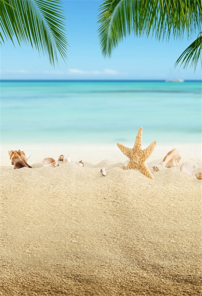 Laeacco Tropical Sea Beach Sand Shell Starfish Palm Tree