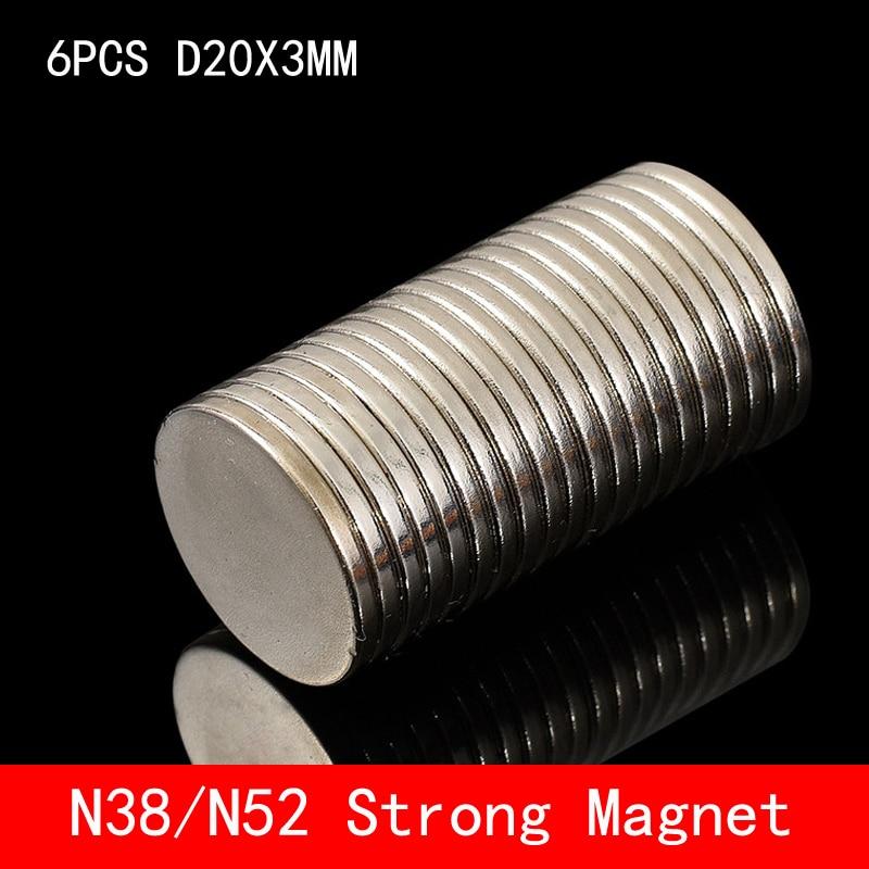 6pcs/lot 20 x 3 mm Super Strong Rare Earth Disc 20mm 3mm Fridge Permanet Magnet Small Round N38 N52 Neodymium 20*3MM