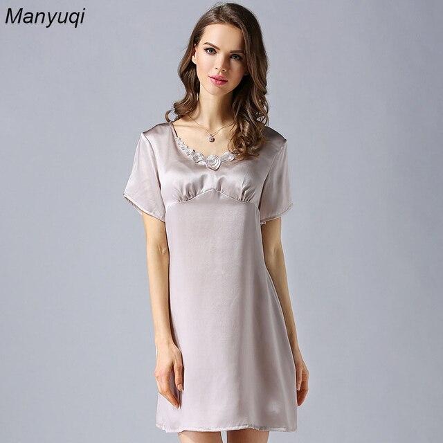 nuovo stile 4d3e7 a1f2c US $33.9 |100% seta di gelso camicia da notte delle donne manica corta  girocollo lingerie camicie da notte per le donne solido casa semplice sytle  ...