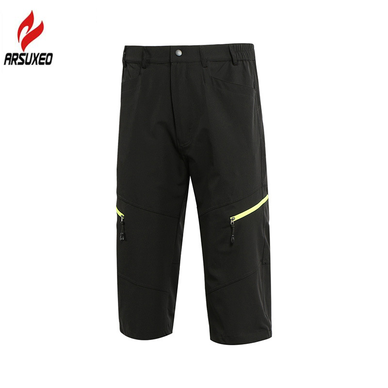 ARSUXEO Breathable 3/4 Length Mens Outdoor Pants Sports Cropped Trousers Cycling Pants Downhill MTB Mountain Bike Hiking Pants