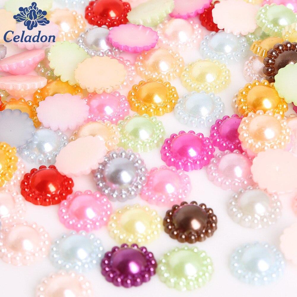 Высокое качество 50 шт./лот 12 мм разноцветный искусственный жемчуг полукруглый Flatback цветок бусины для Записки DIY украшения